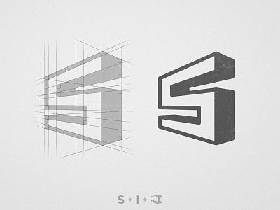 Steel Improvements - Logo Grid cleverlogo steel branding monograms logos logofolio geometric logomarks logo design concept perspective 3dlogo grid construction 3d letters i letter s initial