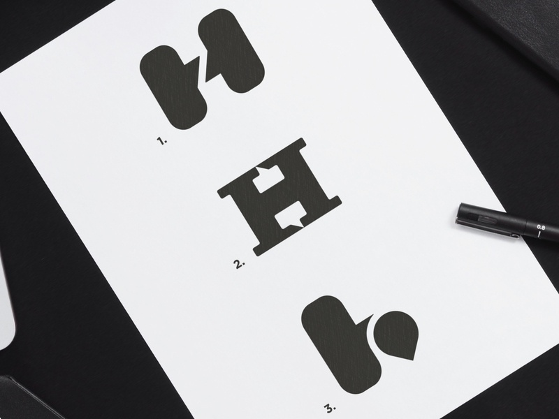 Hayle - Logo Concepts logos 2d marks mark icon symbol logomarks black and white ambigram location pin slab serif slabserif chat box negative space logo h letter