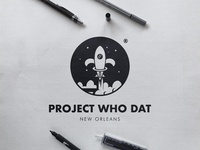 Project Who Dat - Black and White Logo
