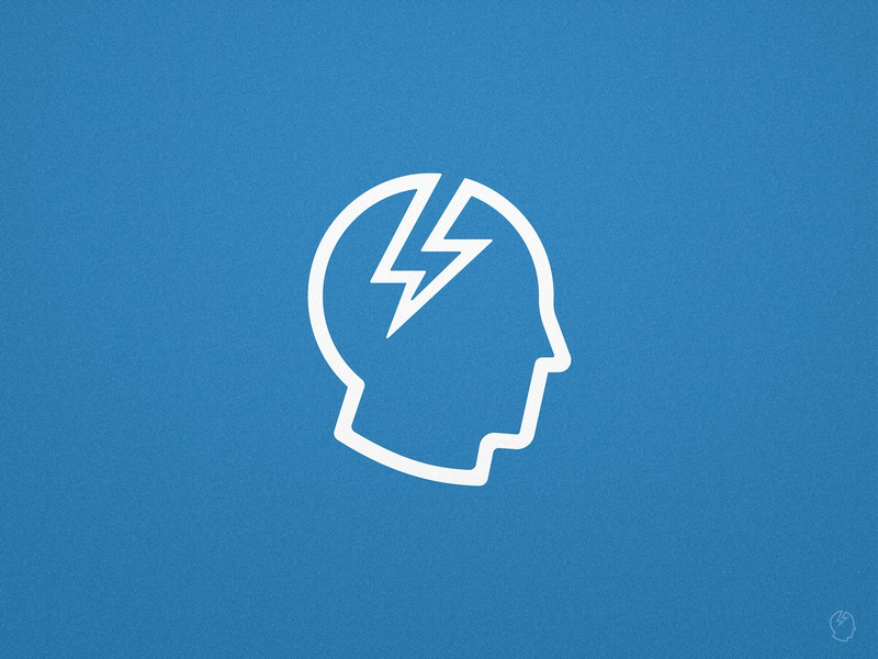 Brainstorm - Logomark Design mark icon symbol profile design monoline lightning bolt mind blue and white storm brain training thunder volt voltage head logo