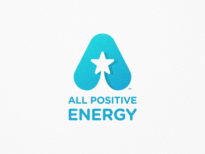 All Positive Energy - Logotype Design mark symbol logomark logotype designer round icons star logo positive vibes grain texture a letter a day negative space gotham rounded blue gradient shooting stars
