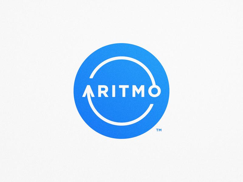 Aritmo - Logotype Design badge circle circular branding guidelines gradient color subtle texture logotype designer brand identity design trademark blue and white arrow round logo