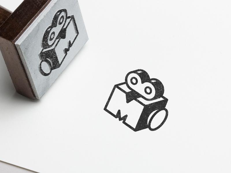 Matthew Birks Videography - Stamp Design symbolism lettermark cleverlogo logomark flatdesign videographer videography blackandwhite stamp design video icon m monogram camera logo