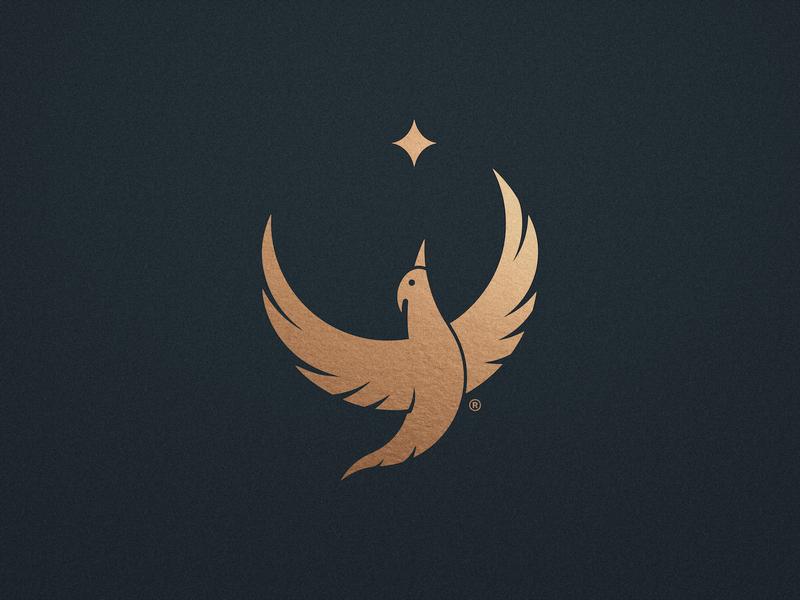 Live Life Happy - Logomark Design registered brand design identity designer wings star animal art mark icon symbol gold foil logomark bird icon golden section phoenix logo