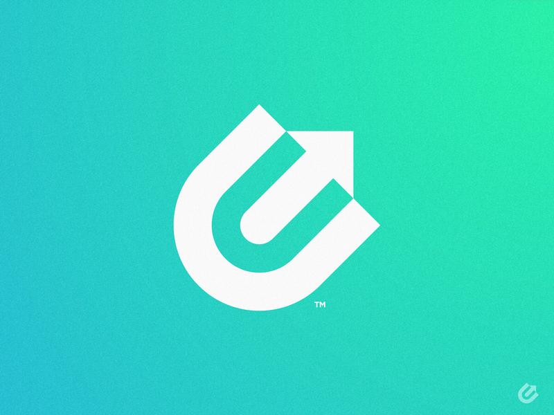 Ecom Uprise - Logomark Design growth hacking ecommerce shop e-commerce app trademark symbol icon mark flat  design flatdesign green gradient upward arrows arrow logo e letter