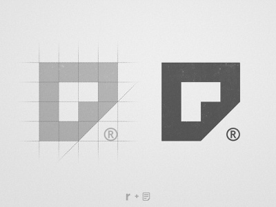 Resumedia - Logo Grid logotype designer monogram design lettermark mark symbol icon file wordmarks wordmark folded paper registered negative space logo negativespace r letter
