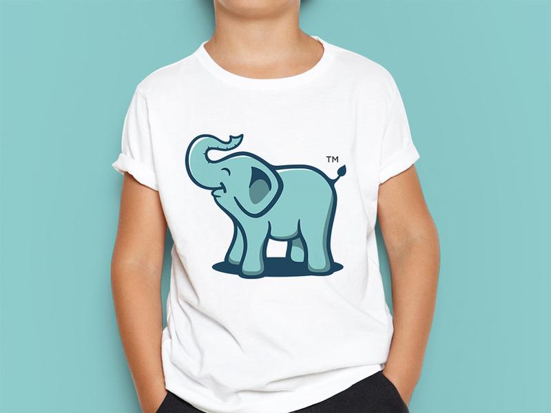 Big Little One - Logo Mascot tshirtdesign tshirt art trade mark pet design mascotlogo mascot character logodesign logomaker happy face elephant logo clothing brand animal illustration