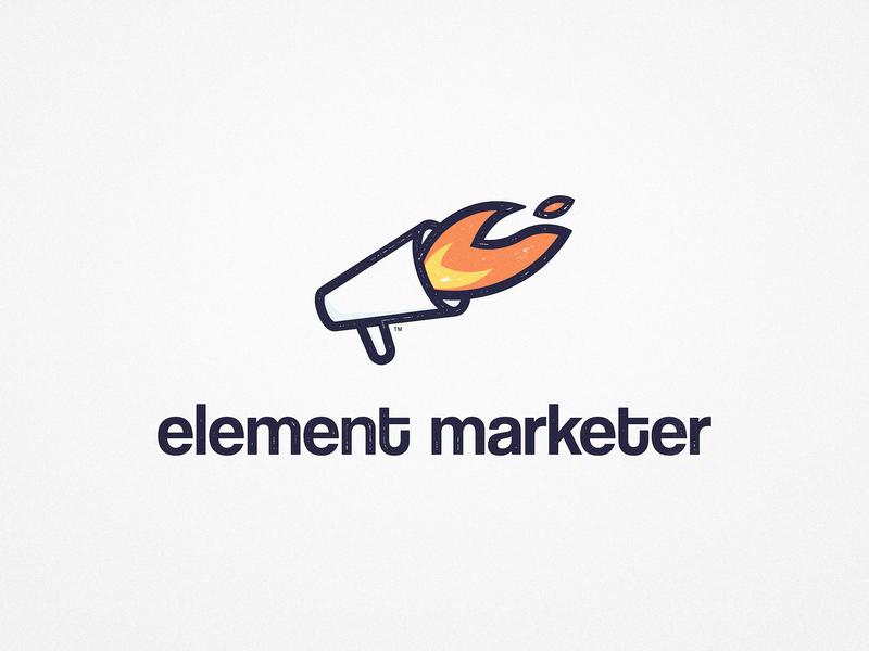 Element Marketer - Logo Design logowork logoart brand identity logotypes logotypedesign logotype designer branding design marketing agency megaphone trade mark fire flame logo