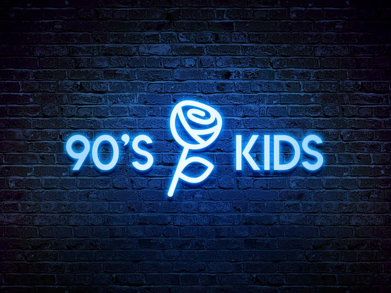 90's Kids - Logotype Design fluorescent nineties branding agency flowers illustration logotypedesign symbol icon mark identity designer logotype design wall mockup blue color neon light rose logo