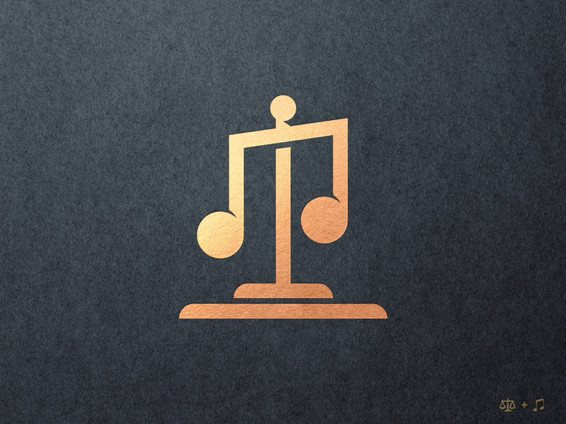 Apollo's Counsel - Logomark Design branding and identity musician business card logo design concept mark making logomark gold foil scale law firm balance lawyer logo music icon dual meaning