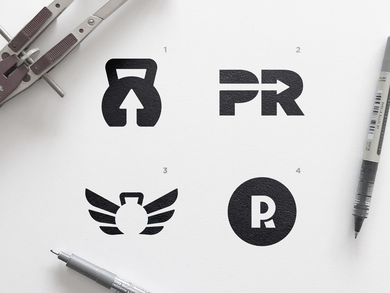 New PR Store - Logo Concepts black and white weight lifting negative space negativespace monogram letter mark wings wingsbranding arrow head gym logo crossfit kettle bell kettlebell