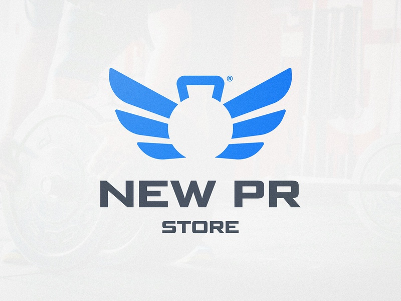 New PR Store - Logo Design smart mark logotype designer logotypedesign wings wing negative-space negativespace kettle bell kettlebell gym logo blue and white crossfit