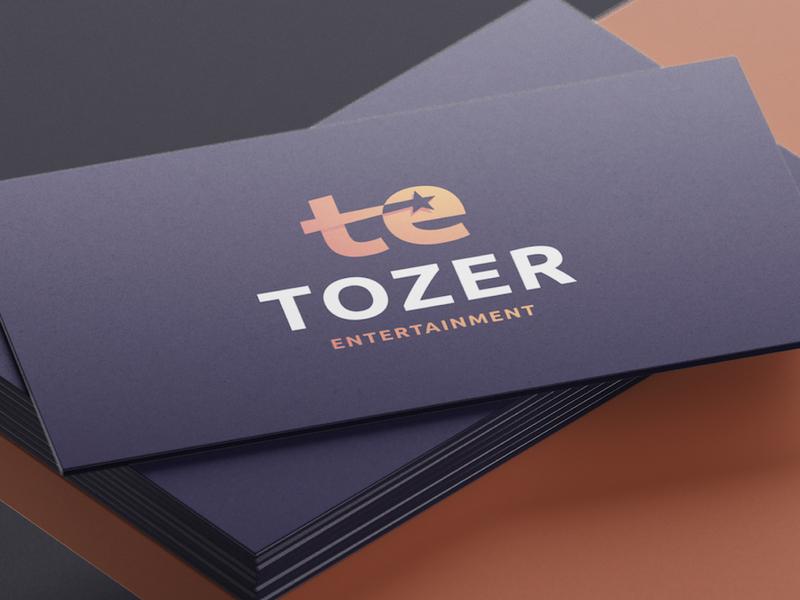 Tozer Entertainment - Logo Design purple gradient logotypedesign logotype designer ubuntu lettermark monogram letter mark t letter negative-space negativespace star logo shooting stars entertainment