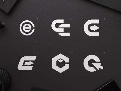 Click&Easy - Logo Concepts logos bible software logomarks for sale unused buy black and white blackandwhite speed art arrow head e logo box design negative-space negativespace c letter
