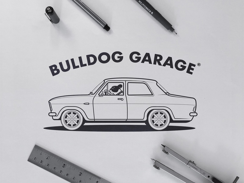 Bulldog Garage - Logo Concept linework design art logotype designer logotypedesign mascot character mascotlogo animal logos black and white dog illustration car logo garage bulldog