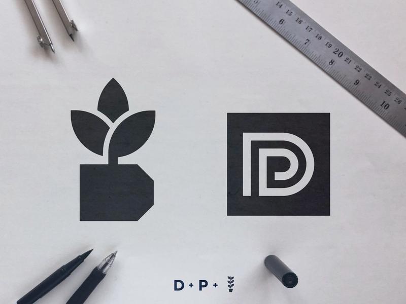 Deco Planters - Logo Concepts icon symbol logomarks smartlogo negative-space smart mark cleverlogo black and white blackandwhite p monogram vase plant logo d letter