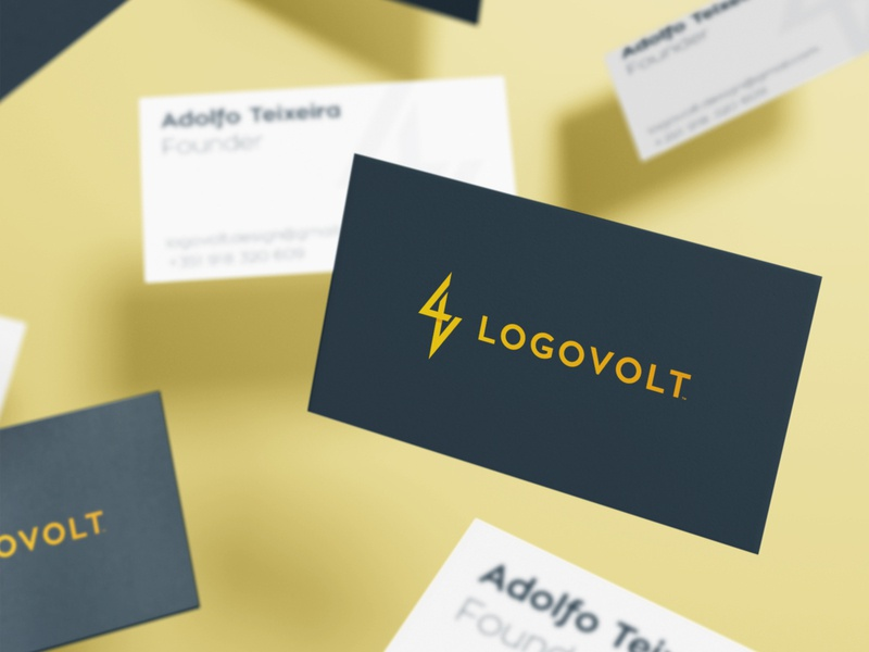 Logovolt - Business Card Design smart mark logotypedesign logotype designer adolfo teixeira logovolt v letter lv blue and yellow business card design volt bolt logo zap