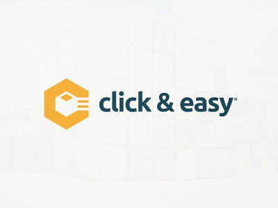 Click&Easy - Logo Design registered identity design identitydesign logotype designer logotypedesign delivery app ubuntu negativespace negative-space yellow logo c letter box design