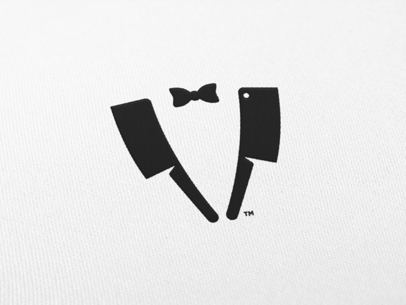 Chef's Choice - Mark Design clever illustration smart visual tuxedo suit restaurant branding trademark knifes knife cleaver chef logo bow tie bowtie embroidered patch