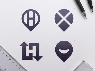 Hobbiez - Logo Concepts logomark x arrows arrow negative space smile logo smiley face black and white blackandwhite h letter negativespace location pin