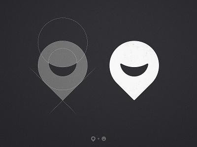 Hobbiez - Logo Grid logotipo do designer applogo logomarks learnlogodesign mark symbol icon logomark black and white emoji smiley face smile logo grid design location pin