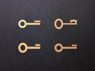 King Equity Development - Logo Concepts 👑 identity designer logo design gold foil for sale unused buy crown logo key marks logomarks logos branding brand