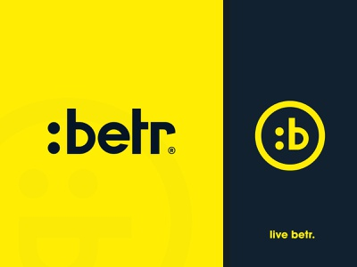 :betr - Logotype Design custom font flatdesign emoji lettermark b letter black and yellow brand identity designer logotype design wordmark logo typography branding