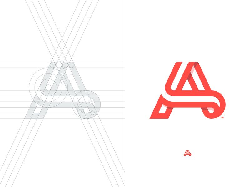 Ayoub Hussain - Logo Grid belt trademark a letter a day negativespace grid design brand branding identity designer lettermark negative space logo typography