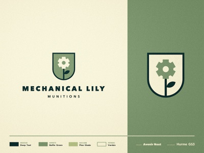 Mechanical Lily Munitions - Branding ⚙️ negativespace logomark badge design double meaning army flower logo cog typography logotype designer branding brand