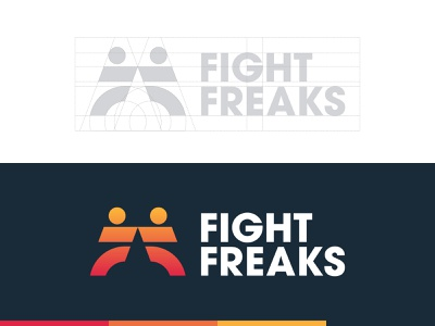 Fight Freaks - Logotype Grid taekwondo kickboxing logo monogram martial arts f letter identity design logotype designer lettermark typography branding brand