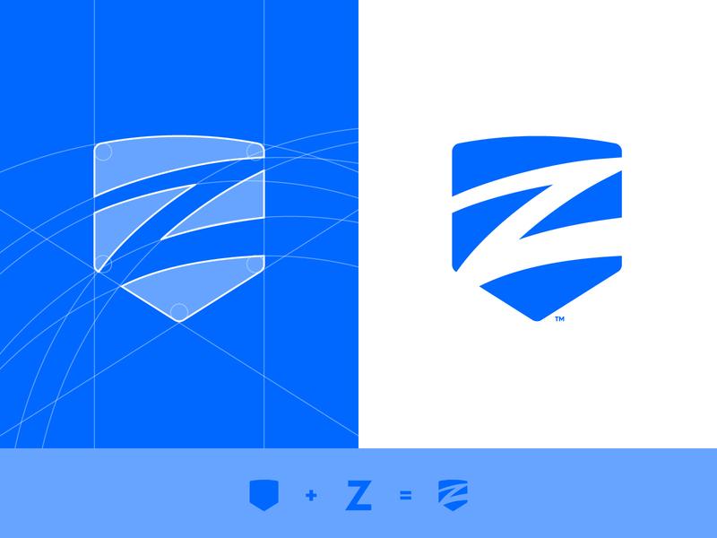 Ziptility - Logo Grid letter typography cleverlogo mark icon symbol grid layout trademark z shield logo identity design branding brand