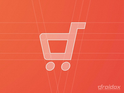 Droidox - Logo Grid 🛒 smart mark trolley identity designer grid layout typography e commerce shopping cart d letter logo design branding brand