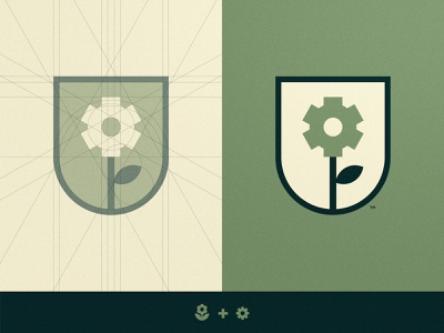 Mechanical Lily Munitions - Logo Grid award winning negative space logo badge army trademark logomark identity designer grid design branding brand cog flower illustration
