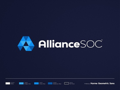 Alliance SOC - Brand Identity blue and white typography style guide mark logotype designer logomark logo identity design triangles a letter a day branding brand