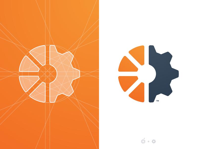 Passion Fruits - Logo Grid smart mark tangerine orange juice logo trademark logomark identity designer grid design cog branding brand