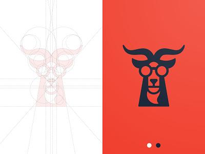Goat Games - Logo Design ram glasses mascot logomark ibex grid design goat logo designer portfolio buck branding brand identity antler