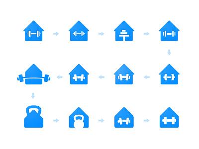 London Fitness - Logo Process crossfit gym app identity designer marks icons logos logomarks branding brand kettlebell dumbbell house logo