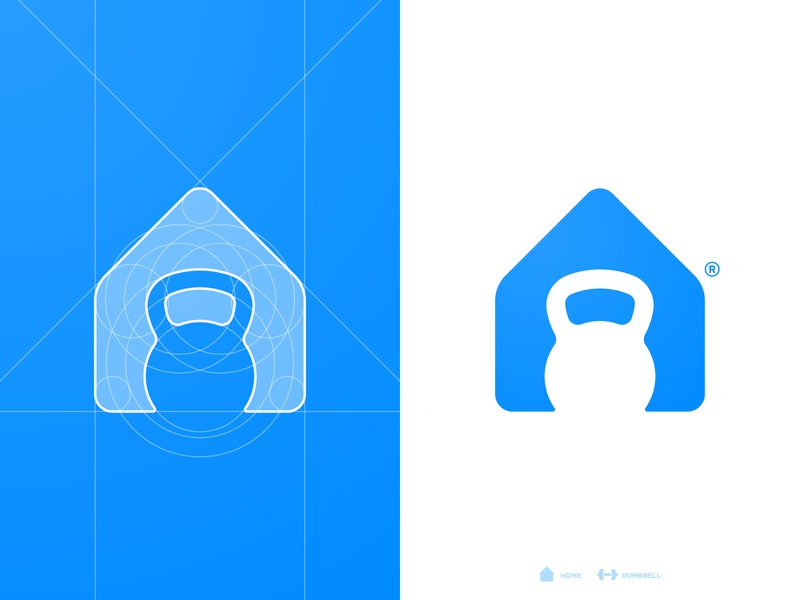 London Fitness - Logo Grid negative space logomark grid design personal trainer house home designer portfolio branding brand identity gym app kettle bell kettlebell