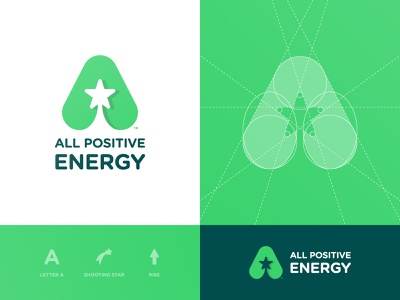 All Positive Energy - Brand Identity smart mark green app typography negative space logo logotype designer logomark identity grid design branding brand shooting star a letter a day