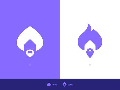 Crib Genie - Logo Concepts logomarks brand identity branding person head human bearded man beard genie negative space logo house home