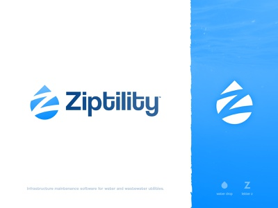 Ziptility - Logo Design 2.0 lettermark negative space trademark icon visual artist mark logotype designer letter z water drop logomark identity logo branding brand