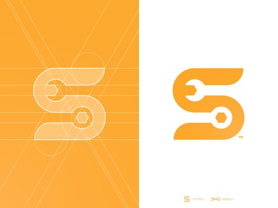 S Tools - Logo Grid smart mark logotype designer brand identity logomark s letter tool wrench branding grid layout logo design negative space for sale unused buy