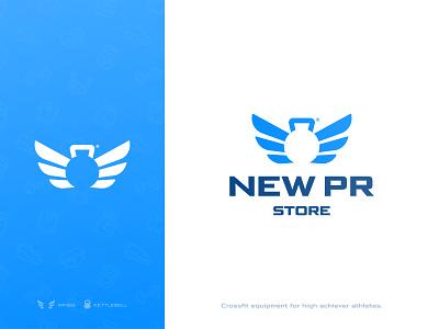 New PR Store - Logotype Design champion workout personal training negative space mark design logotype designer kettlebell wings gym logo fitness branding brand