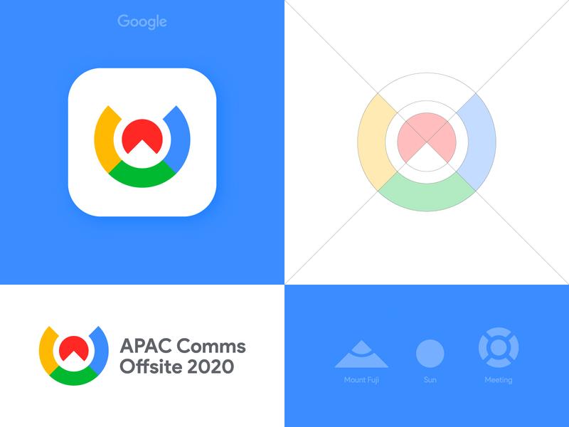 Google APAC Comms Offsite 2020 - Logo Grid sunrise sunset olympic games logo grid negative space mount fuji mountain logomark logotype designer google branding brand identity