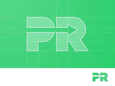 PR Arrow - Logo Concept delivery fast negative space logotype designer logomark logo design grid layout for sale unused buy branding brand identity arrow r letter