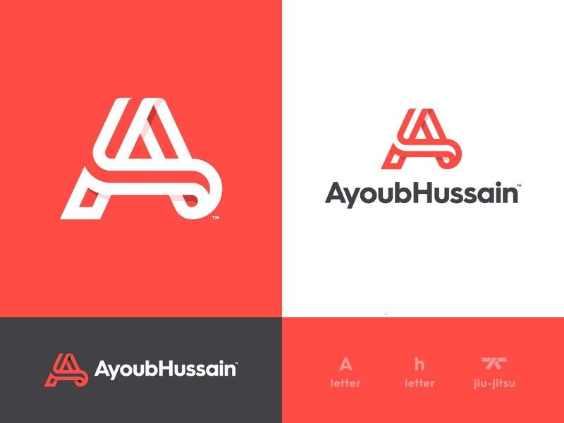 Ayoub Hussain - Brand Identity Design fight club jiu jitsu martial arts smart mark logotype design typography negative space lettermark identity designer branding brand a letter logo