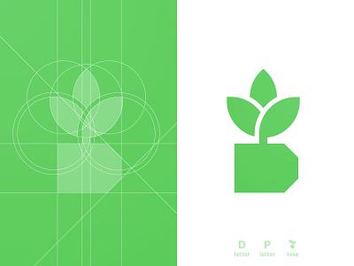 DP Vase - Logo Grid golden ratio planter logotype designer smart mark d letter plant illustration logomark logo design grid layout for sale unused buy brand identity branding