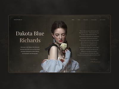 Dakota Blue Richards personal website (concept) serials film actor illustration vector creative design design web ux ui