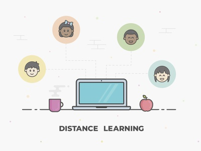 Distance Learning connection people faces students cup computer laptop apple work school remote distance learning distance