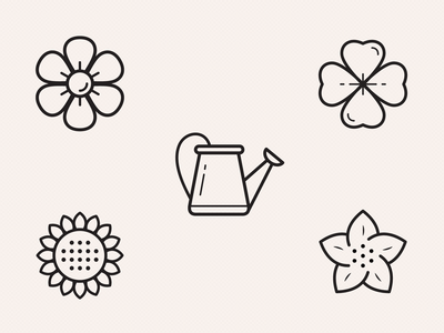 Watering the Flowers Icons spring outline sunflower icons